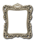 Ornate pewter picture frame against white with drop shadow — Stock Photo