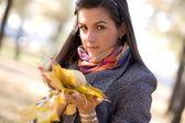 Young brunette in the background of the autumn park — Stock Photo