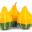 Three decorative fancy pumpkins - Stock Photo