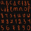Vector latin burning alphabet and numbers — Stock Vector
