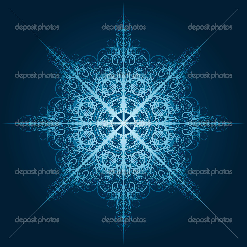 Vector highly detailed blue snowflake — Stock Vector #6849153