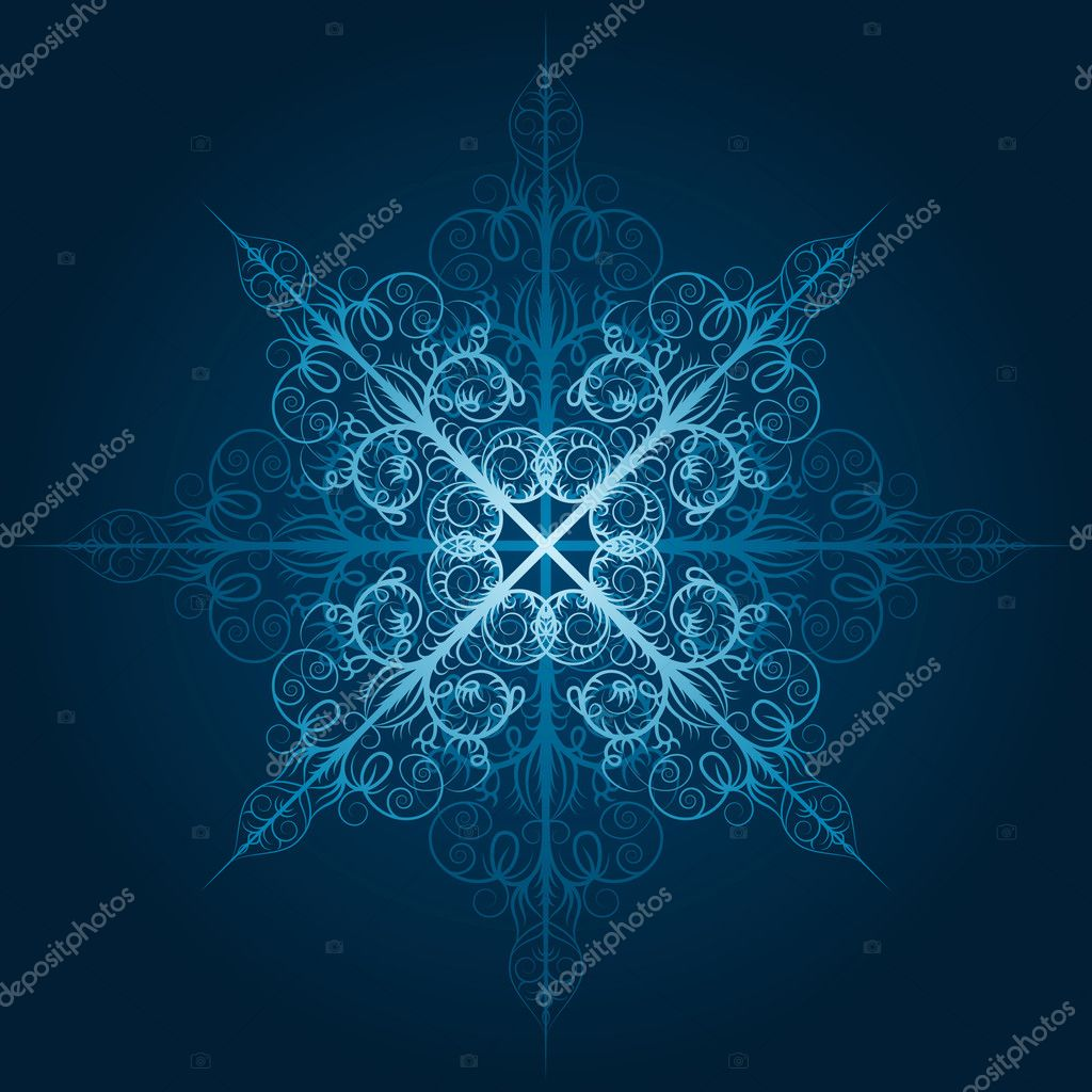 Vector highly detailed blue snowflake — Stock Vector #6849158