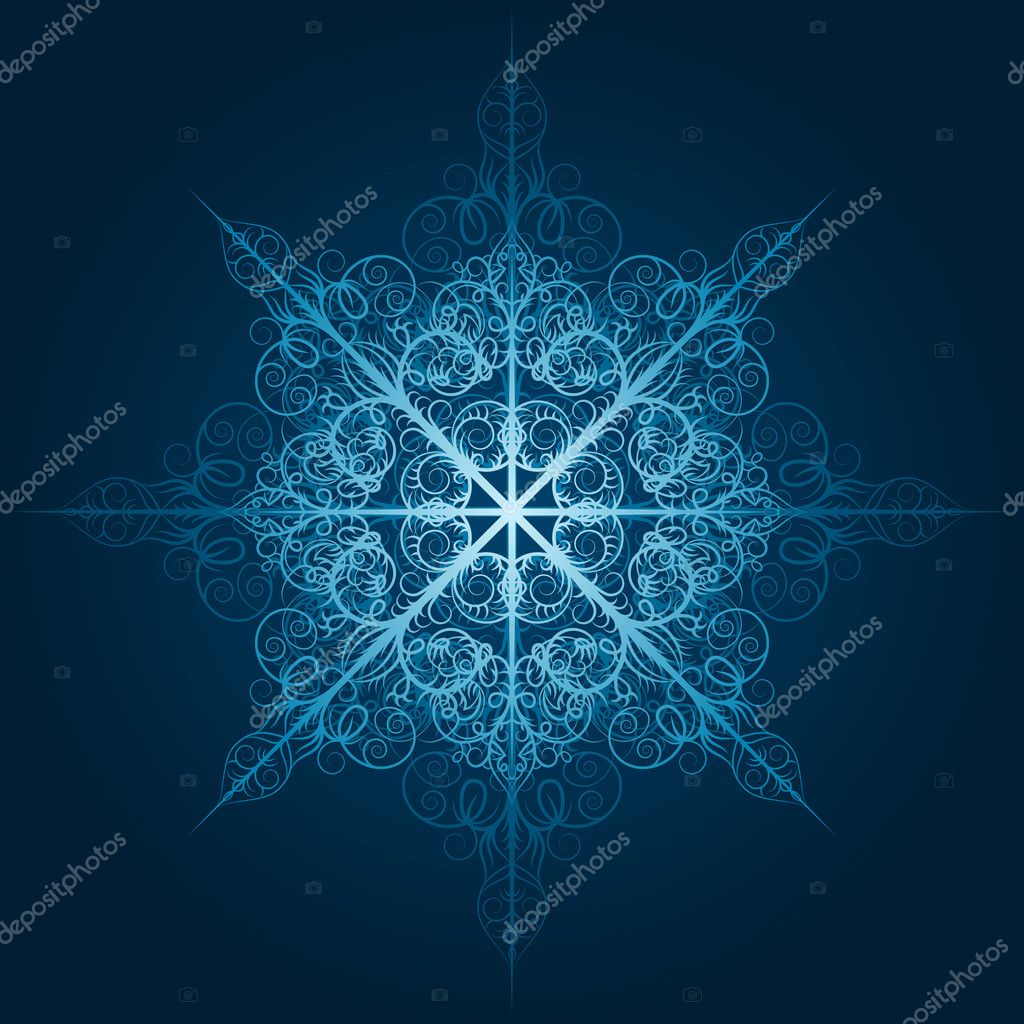 Vector highly detailed blue snowflake — Stock Vector #6849166