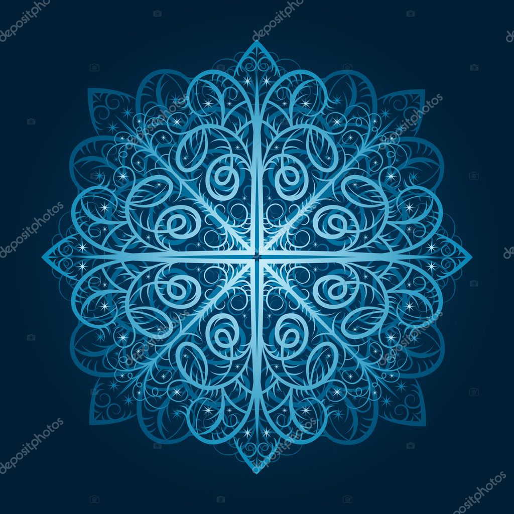 Vector highly detailed blue snowflake  Stock Vector #6849173