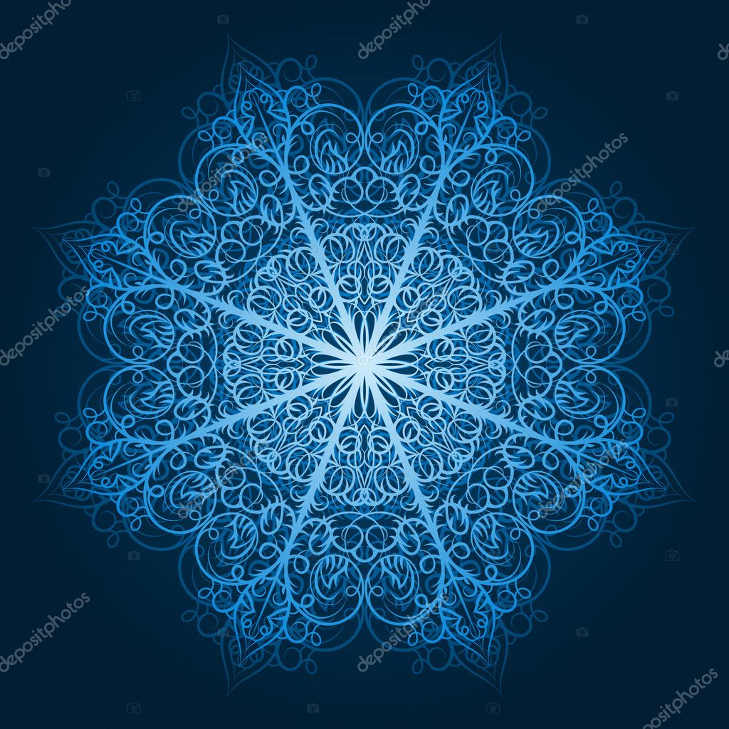 Vector highly detailed blue snowflake — Stock Vector #6849183