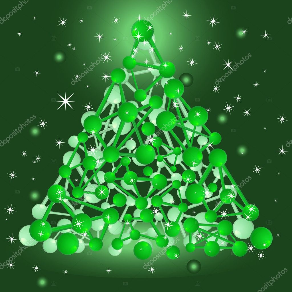 Eps 10 vector christmas tree consisting of molecular structure — Stock Vector #6849199