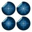 Vector highly detailed blue snowflake stickers — Stock Vector