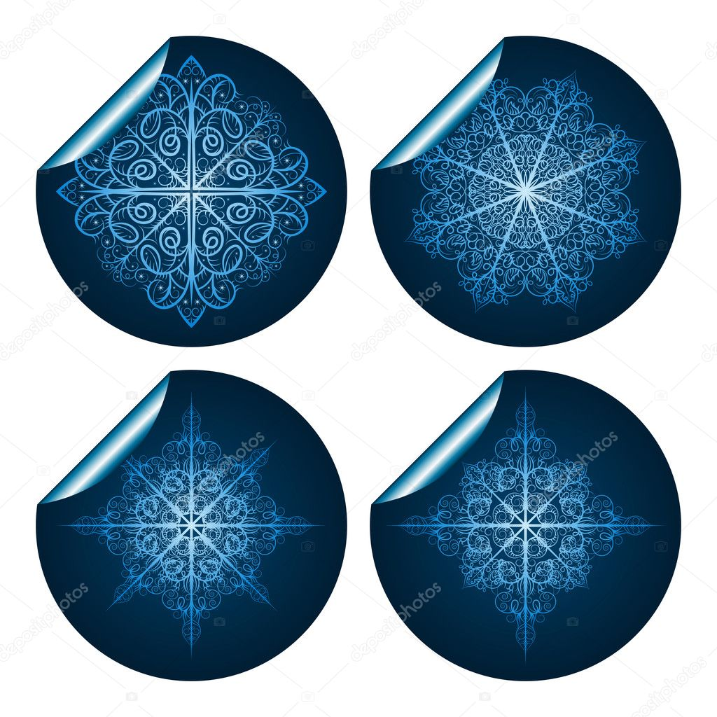 Four vector highly detailed blue snowflake stickers — Stock Vector #6949291