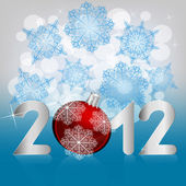Vector 2012 print on background with snowflakes and stars — Stock Vector