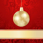 Vector christmas background with golden ball — Stock Vector