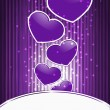 Vector violet hearts on abstract background with stripes — 图库矢量图片