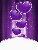 Vector violet hearts on abstract background with stripes — Stock Vector