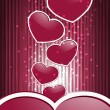 Vector red hearts on abstract background with stripes — 图库矢量图片