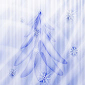 Vector fir tree on winter background with snowflakes and stars — Stock Vector