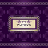 Vector invitation on seamless vintage pattern with lacy frame fo — Stock Vector