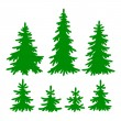 Set of vector Fir-trees silhouettes — Stock Vector #7628436