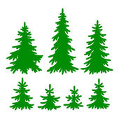 Set of vector Fir-trees silhouettes — Stock Vector