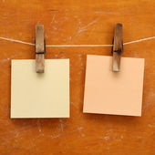 Memo note papers hang on the wooden clothespin — Stock Photo