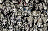 A lot of venetian carnival masks — Stock Photo