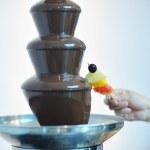 vloeibare chocolade fontein en vers fruit op stick — Stockfoto