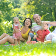 Happy young couple with their children have fun at park — Stock Photo #6768571
