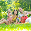 Happy young couple with their children have fun at park — Stock Photo #6768800