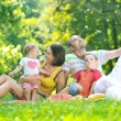 Happy young couple with their children have fun at park — Stock Photo #6769261