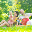 Happy young couple with their children have fun at park — Stock Photo #6771250