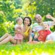 Happy young couple with their children have fun at park — Stock Photo #6771258