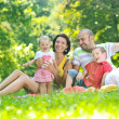 Happy young couple with their children have fun at park — Stock Photo #6771316