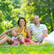 Happy young couple with their children have fun at park — Stock Photo #6771453