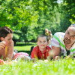 Happy young couple with their children have fun at park — Stock Photo #6771478