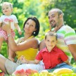 Happy young couple with their children have fun at park — Stock Photo #6771565
