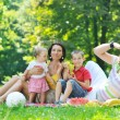 Happy young couple with their children have fun at park — Stock Photo #6784650