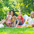 Happy young couple with their children have fun at park — Stock Photo #6790062