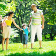 Happy young couple with their children have fun at park — Stock Photo #6790307