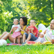 Happy young couple with their children have fun at park — Stock Photo #6790559