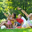Happy young couple with their children have fun at park — Stock Photo #6791331