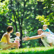 Happy young couple with their children have fun at park — Stock Photo #6811916