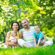 Happy young couple with their children have fun at park — Stock Photo #6818566