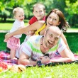Happy young couple with their children have fun at park — Stock Photo #6832282