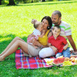 Happy young couple with their children have fun at park — Stock Photo #6834923