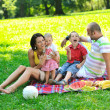 Happy young couple with their children have fun at park — Stock Photo #6835221