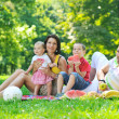 Happy young couple with their children have fun at park — Stock Photo #6835263