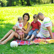 Happy young couple with their children have fun at park — Stock Photo #6835716