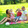 Happy young couple with their children have fun at park — Stock Photo #6835945