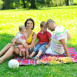 Happy young couple with their children have fun at park — Stock Photo #6836560