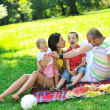 Happy young couple with their children have fun at park — Stock Photo #6836632
