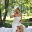 Beautiful bride outdoor — Stock Photo #6858354