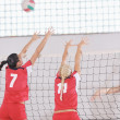 Girls playing volleyball indoor game - Foto Stock